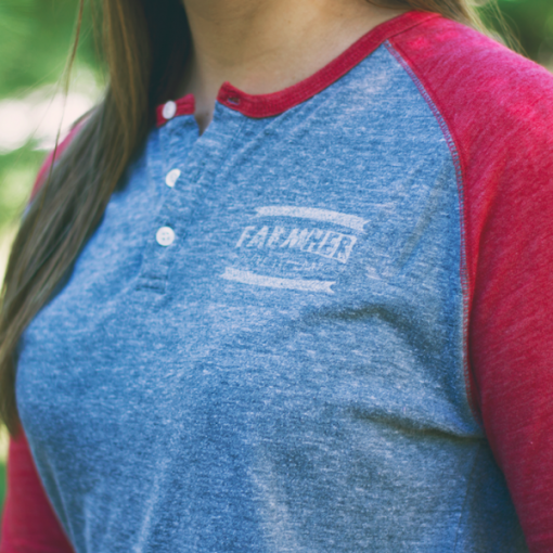 "FarmHer ""Love the Land"" Women's Raglan Henley 3/4 Sleeve"